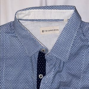 7Diamonds Blue& white dress shirt Medium